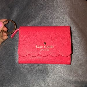 Kate Spade Pink scalloped key chain wallet